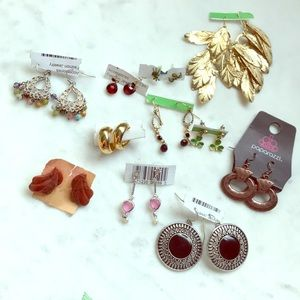 11 pair dainty and statement earrings new